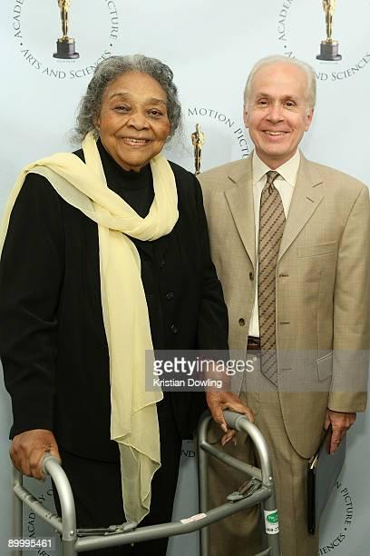 "Actress Juanita Moore and film critic Steve Barber arrive for AMPAS's ""Imitation Of Life"" 50th Anniversary Screening at AMPAS Samuel Goldwyn Theater..."