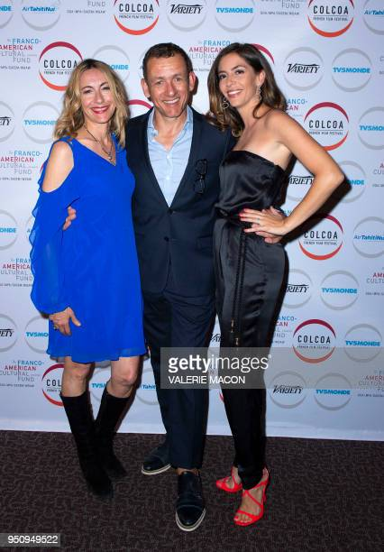 Actress Judi Beecher director/actor Dany Boon and screenwriter Yal Boon pose on Day 2 of the Colcoa French Film Festival at the Directors Guild of...