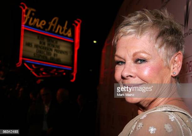 Actress Judi Dench arrives at the Los Angeles premiere of Mrs Henderson Presents at the Fine Arts Theatre December 5 2005 in Beverly Hills California