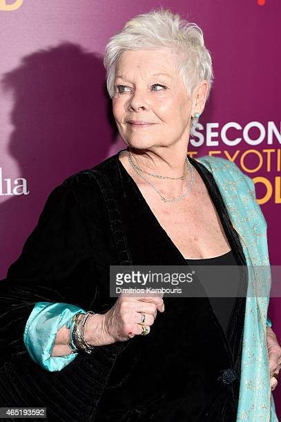 Actress Judi Dench attends The Second Best Exotic Marigold Hotel New York Premiere at the Ziegfeld Theater on March 3 2015 in New York City