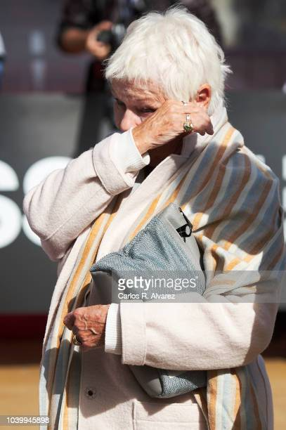 Actress Judi Dench is seen arriving at Maria Cristina Hotel during 66th San Sebastian Film Festival on September 25 2018 in San Sebastian Spain