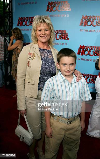 Actress Judi Evans and Austin Michael Luciano arrive at Sony Pictures premiere of Monster House held at Mann's Village Theatre on July 17 2006 in...