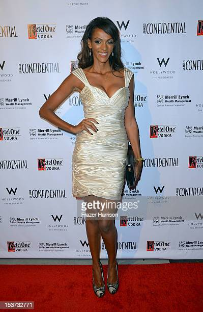 Actress Judi Shekoni arrives at Los Angeles Confidential Magazine Celebrates Their Men's Issue Cover Party with Dennis Quaid at The Residences at W...
