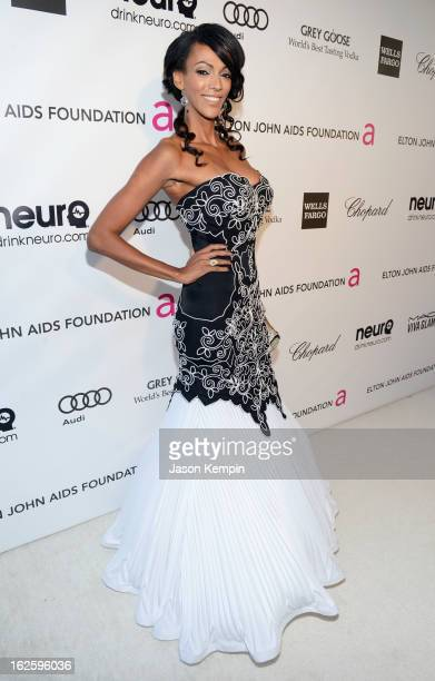 Actress Judi Shekoni attends the 21st Annual Elton John AIDS Foundation Academy Awards Viewing Party at West Hollywood Park on February 24 2013 in...