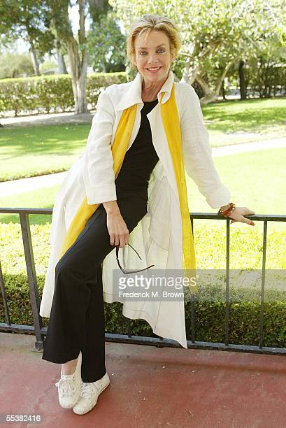 Actress Judith Chapman poses for photographers at Naval Base Ventura County as part of 'The Spirit of America Tour' on September 11 2005 in Port...