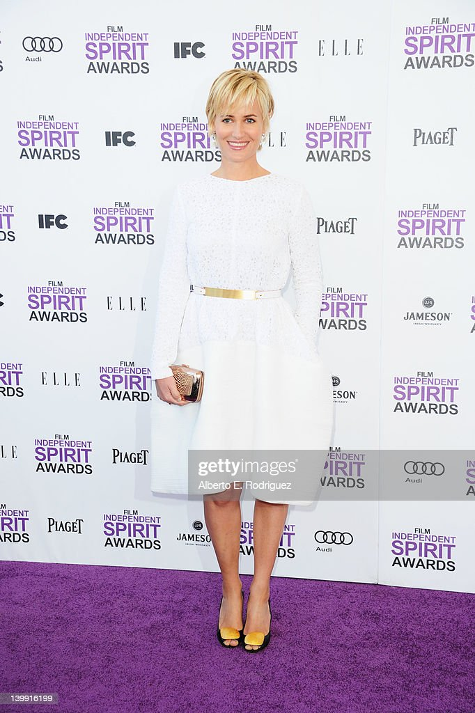 Actress Judith Godreche arrives at the 2012 Film Independent Spirit Awards on February 25, 2012 in Santa Monica, California.