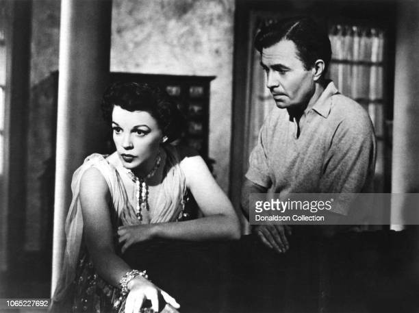"Actress Judy Garland and James Mason in a scene from the movie ""A Star Is Born"""
