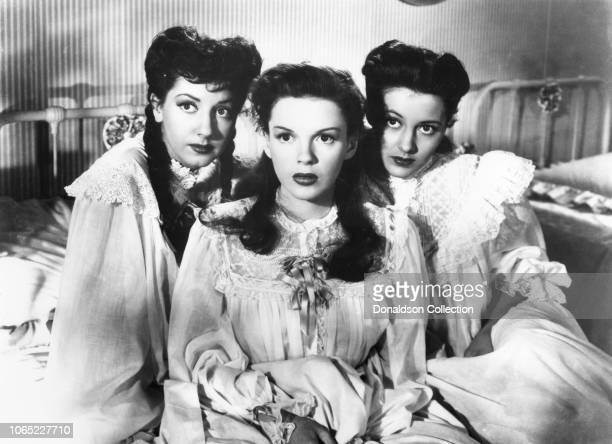 Actress Judy Garland Margaret O'Brien and Cyd Charisse in a scene from the movie The Harvey Girls