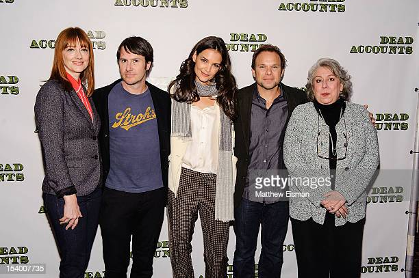 Actress Judy Greer actor Josh Hamilton actress Katie Holmes actor Norbert Leo Butz and actress Jayne Houdyshell attend the 'Dead Accounts' cast photo...