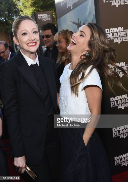 Actress Judy Greer and actress Keri Russell arrive at the premiere of 20th Century Fox's Dawn Of The Planet Of The Apes at Palace Of Fine Arts...