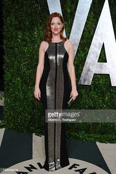 Actress Judy Greer arrives at the 2012 Vanity Fair Oscar Party hosted by Graydon Carter at Sunset Tower on February 26 2012 in West Hollywood...
