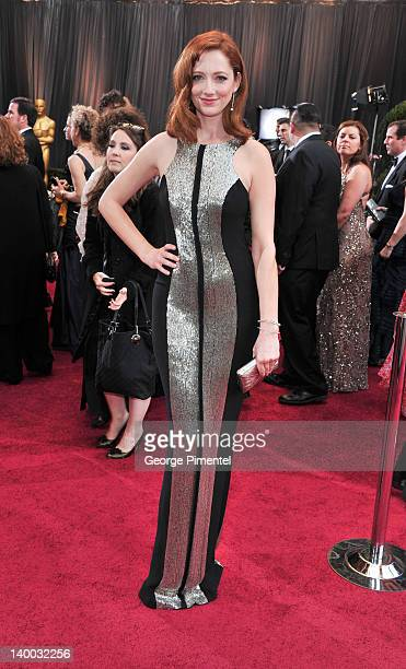 Actress Judy Greer arrives at the 84th Annual Academy Awards held at the Hollywood & Highland Center on February 26, 2012 in Hollywood, California.