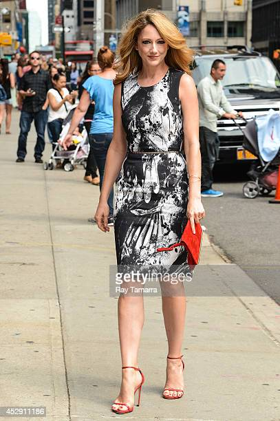 Actress Judy Greer enters the Late Show With David Letterman taping at the Ed Sullivan Theater on July 29 2014 in New York City
