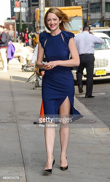 Actress Judy Greer enters the Late Show With David Letterman taping at the Ed Sullivan Theater on May 20 2014 in New York City