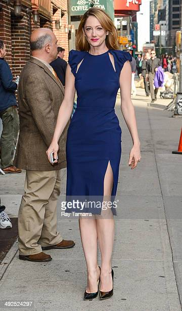 """Actress Judy Greer enters the """"Late Show With David Letterman"""" taping at the Ed Sullivan Theater on May 20, 2014 in New York City."""