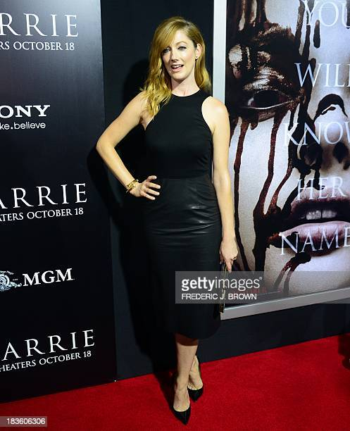Actress Judy Greer poses on arrival for the world premiere of the film 'Carrie' in Hollywood California on October 7 2013 The remake of Stephen...