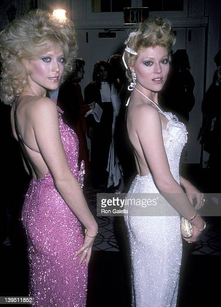 Actress Judy Landers and actress Audrey Landers attend A Chorus Line Premiere Party on December 9 1985 at The WaldorfAstoria Hotel in New York City
