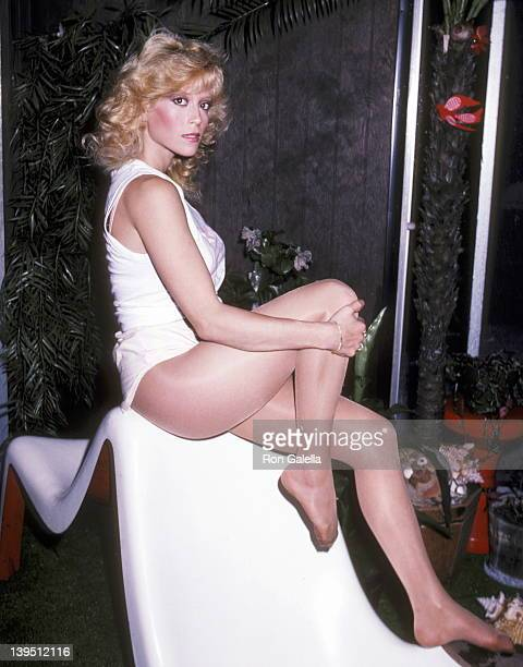 Actress Judy Landers on December 12 1982 poses for photographs at her mother's Ruth Landers' Home in New York City
