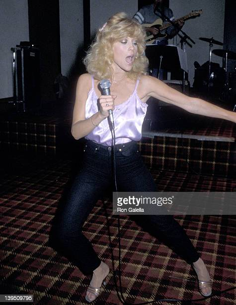 Actress Judy Landers rehearses for their concert tour on May 4 1983 at the Modern Music Recording Studios in Hollywood California
