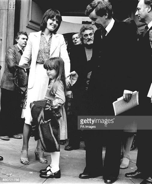 Actress Judy Loe , widow of actor Richard Beckinsale and their five year old daughter Katy, receive condolences from actor Richard Briers and other...