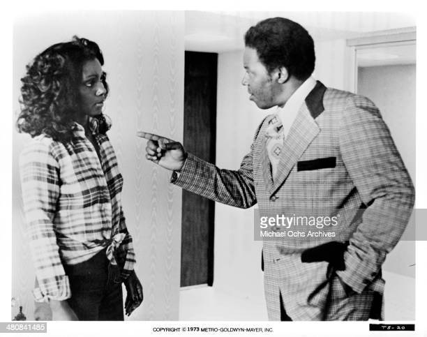 Actress Judy Pace and actor Jim Brown in a scene from the movie The Slams circa 1973