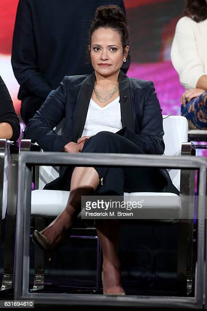 Actress Judy Reyes of the series 'Claws' speaks onstage during the TNT portion of the 2017 Winter Television Critics Association Press Tour at the...
