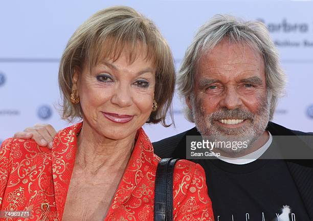 Actress Judy Winter and Thomas Fritsch attend a reception hosted by Volkswagen ahead of a concert by American singer Barbra Streisand at the...