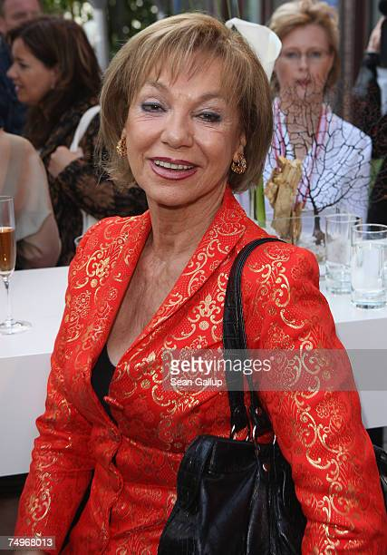 Actress Judy Winter attends a reception hosted by Volkswagen ahead of the concert by American singer Barbra Streisand at the Waldbuehne on June 30...