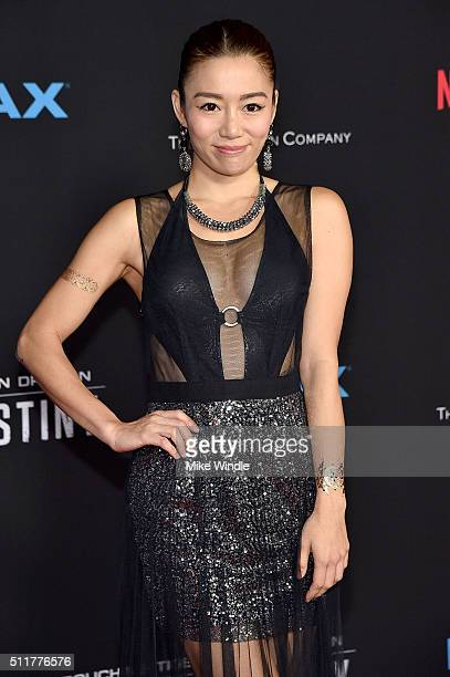 Actress JuJu Chan attends the premiere of Netflix's Crouching Tiger Hidden Dragon Sword Of Destiny at AMC Universal City Walk on February 22 2016 in...