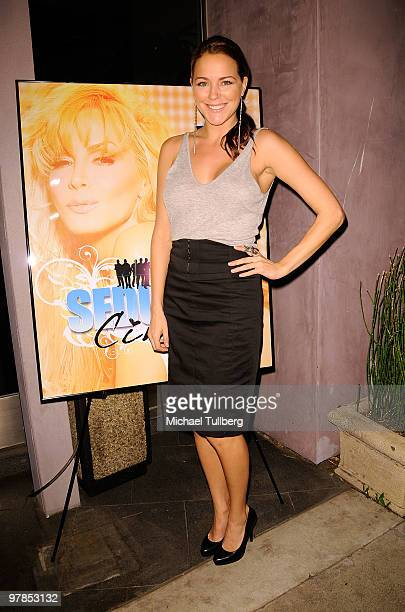 Actress Julia Anderson arrives at the season finale party for actress/model Cindy Margolis' Fox Reality show 'Seducing Cindy' on March 18 2010 in...