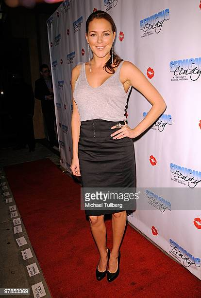 Actress Julia Anderson arrives at the season finale party for actress/model Cindy Margolis' Fox Reality show 'Seducing Cindy' on March 18, 2010 in...