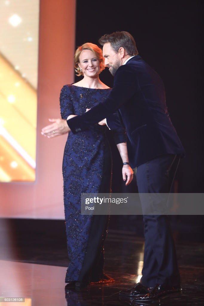 Actress Julia Becker And Tv Host Steven Gätjen On Stage During The