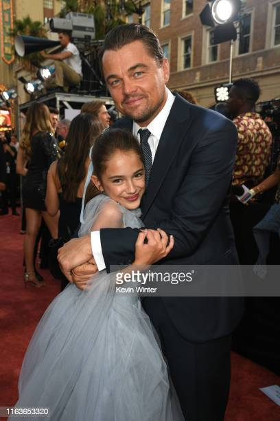 Actress Julia Butters and Leonardo DiCaprio attend the Sony Pictures' Once Upon A TimeIn Hollywood Los Angeles Premiere on July 22 2019 in Hollywood...