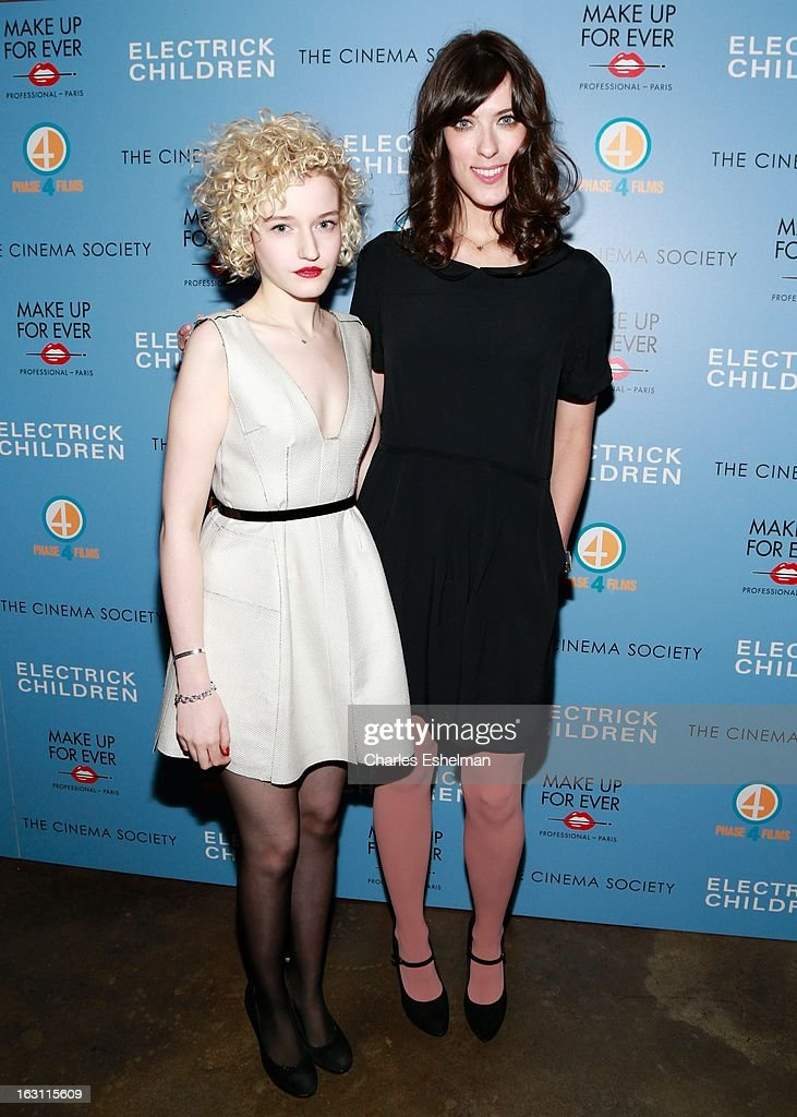 Actress Julia Garner and director Rebecca Thomas attend The Cinema Society & Make Up For Ever host a screening of 'Electrick Children' at IFC Center on March 4, 2013 in New York City.
