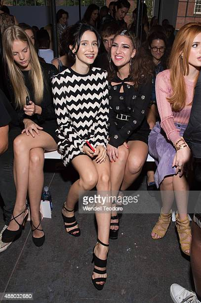 Actress Julia Goldani Telles and actress Liz Nistico attends the Jill Stuart Spring 2016 New York Fashion Week at Industria Studios on September 12...