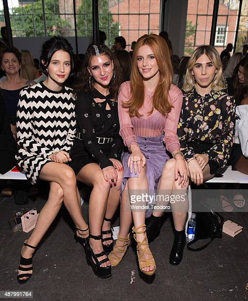 Actress Julia Goldani Telles Singer Liz Nistico Actor Bella Thorne and Actress Zosia Mamet attend the Jill Stuart Spring 2016 New York Fashion Week...