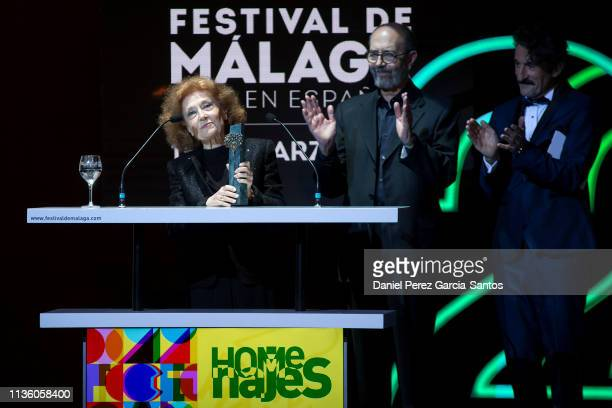 Actress Julia Gutierrez Caba and actor Miguel Rellan attend opening day of the Malaga Film Festival 2019 on March 15 2019 in Malaga Spain