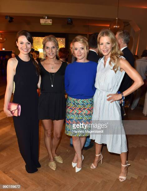 Actress Julia Hartmann Nathalie Pollock Nina Gummich and Nina Gnaedig attend the UFA Fiction Reception during the Munich Film Festival 2016 at Cafe...