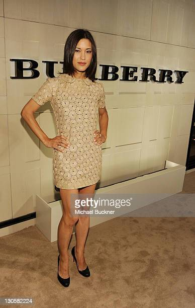 Actress Julia Jones arrives at the Burberry Body Event hosted by Christopher Bailey and Rosie HuntingtonWhiteley held at Burberry Beverly Hills on...