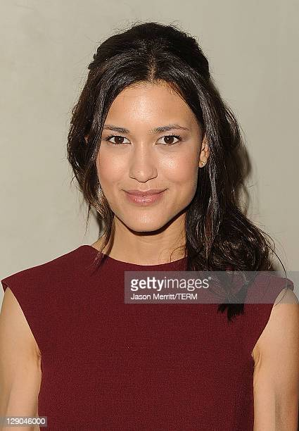 Actress Julia Jones arrives at the Giorgio Armani / Vanity Fair private dinner on October 11 2011 in Los Angeles California