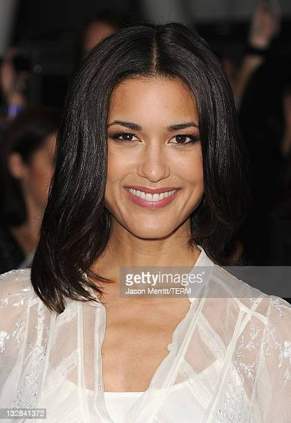 Actress Julia Jones arrives at the Premiere of Summit Entertainment's 'The Twilight Saga Breaking Dawn Part 1' at Nokia Theatre LA Live on November...