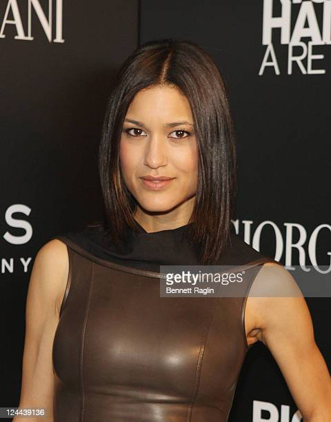 Actress Julia Jones attends the opening of Richard Hambleton A Retrospective at Phillips de Pury Company on September 9 2011 in New York City