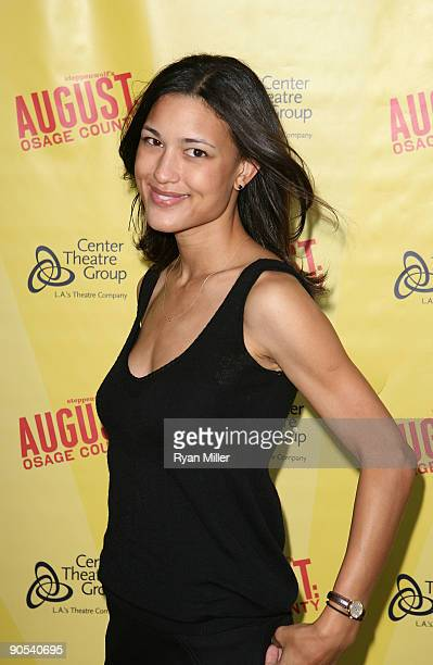 Actress Julia Jones poses during the arrivals for the opening night performance of August Osage County at the Center Theatre Group/Ahmanson Theatre...
