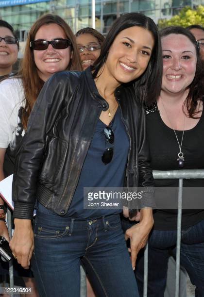 Actress Julia Jones poses with fans during the 2010 Los Angeles Film Festival at Nokia Plaza on June 23 2010 in Los Angeles California