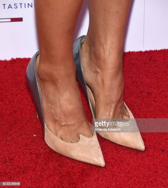 Actress Julia Jones shoe detail arrives at the premiere of The Weinstein Company's Wind River at The Theatre at Ace Hotel on July 26 2017 in Los...
