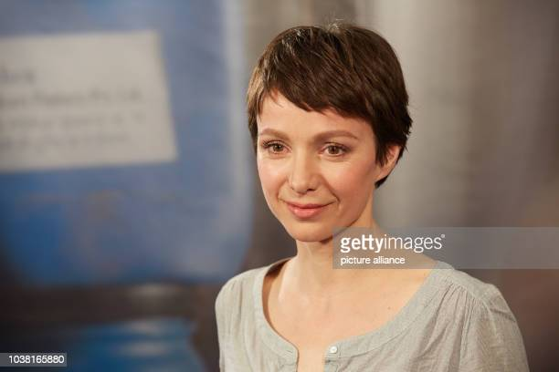 Actress Julia Koschitz presents the new television film Nachtschatten during a press conference for German television network ARD in Hamburg Germany...
