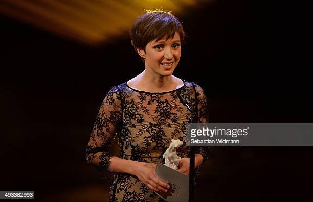 Actress Julia Koschitz receives an award for best actress in the tv movie 'Pass gut auf ihn auf' during the taping of the 'Bayerischer Fernsehpreis...