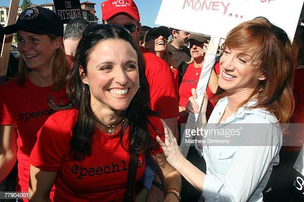 Actress Julia Louis Dreyfus and comedian Kathy Griffin picket in support of the Writers Guild of America which is currently onstrike for increased...