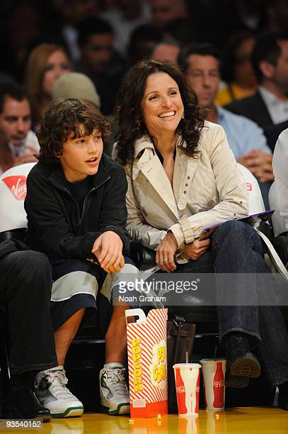 Actress Julia Louis Dreyfuss attends a game with her son between the New Orleans Hornets and the Los Angeles Lakers at Staples Center on December 1...