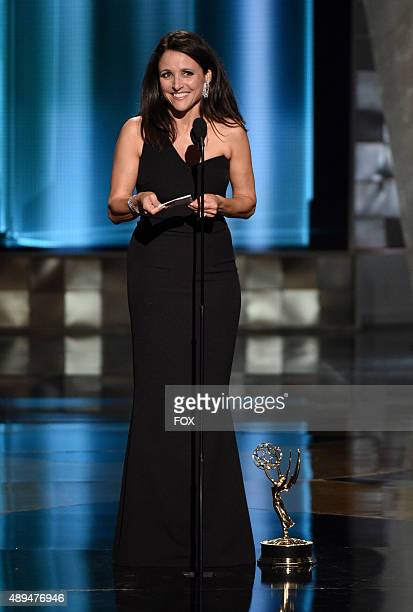 Actress Julia LouisDreyfus accepts Outstanding Lead Actress in a Comedy Series award for 'Veep' onstage during the 67th Annual Primetime Emmy Awards...